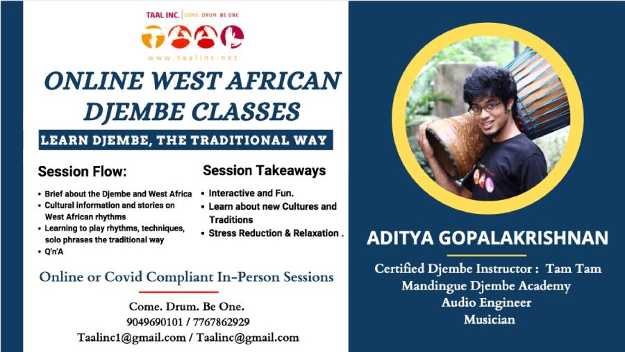 Online Djembe Classes with Aditya Gopalakrishnan